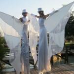 Trampolieri in Bianco per Accoglienza Sposi